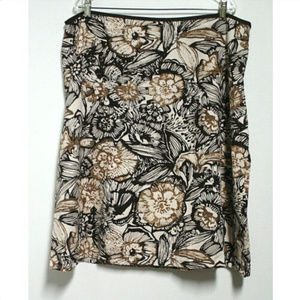 Cato Womens 22/24W Skirt Brown Ivory Floral Lined